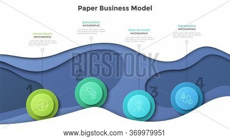 Paper Business Model With Four Colorful Circular Elements. Concept Of 4 Successive Stages Of Company