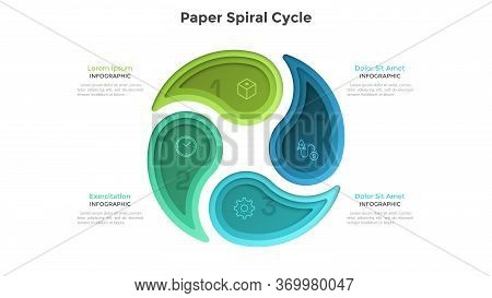 Cyclic Chart With 4 Colorful Paper Spiral Elements. Concept Of Four Steps Or Stages Of Production Cy