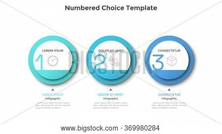 Horizontal Row Or Timeline With Three Circular Paper White Elements. Concept Of 3 Successive Steps O