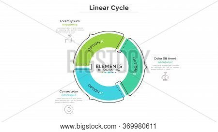 Circular Cyclic Diagram Divided Into 3 Colorful Sectors With Arrows Or Pointers. Concept Of Three St