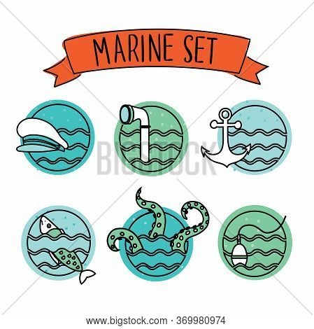 Outline Round Nautical Icons. Outline Round Nautical Icons On White Isolation