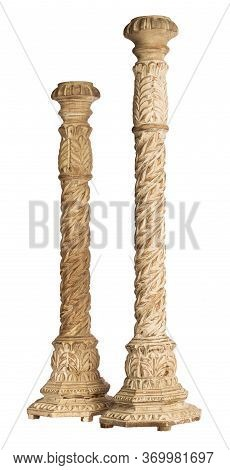 Two White Vintage Wooden Candlesticks Isolated On White Background With Clipping Path