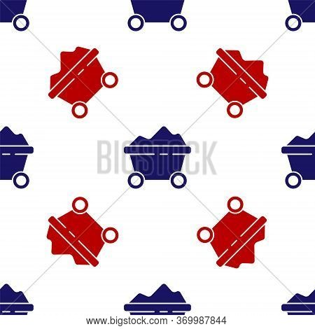 Blue And Red Coal Mine Trolley Icon Isolated Seamless Pattern On White Background. Factory Coal Mine