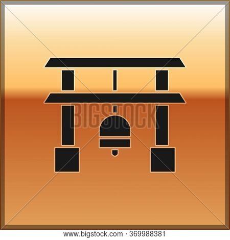 Black Japan Gate Icon Isolated On Gold Background. Torii Gate Sign. Japanese Traditional Classic Gat