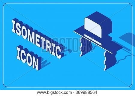 Isometric Orthodox Jewish Hat With Sidelocks Icon Isolated On Blue Background. Jewish Men In The Tra