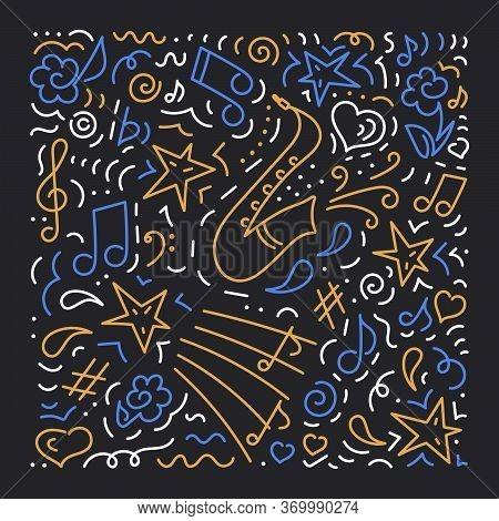 Doodle Vector Background, Saxophone. Poster Music Concert, Festival.. Poster Music Concert, Festival