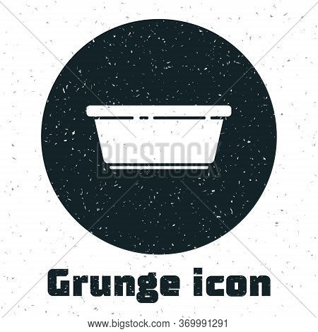 Grunge Plastic Basin Icon Isolated On White Background. Bowl With Water. Washing Clothes, Cleaning E