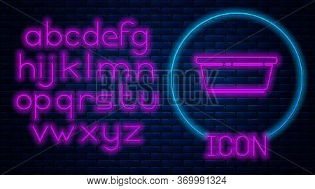 Glowing Neon Plastic Basin Icon Isolated On Brick Wall Background. Bowl With Water. Washing Clothes,