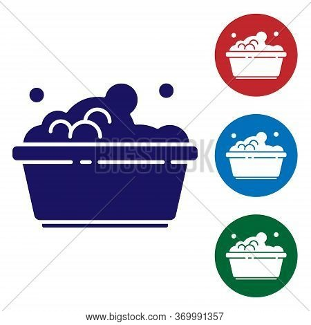 Blue Plastic Basin With Soap Suds Icon Isolated On White Background. Bowl With Water. Washing Clothe