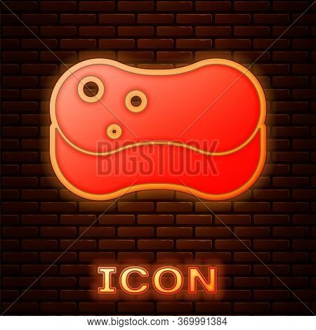 Glowing Neon Sponge Icon Isolated On Brick Wall Background. Wisp Of Bast For Washing Dishes. Cleanin
