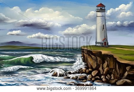 Lighthouse And Sea Landscape, Hand Drawn Sketch Art Illustration Painted With Watercolors