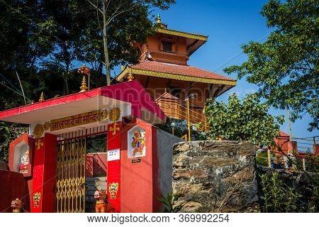 Kathmandu,nepal - June 14,2019: Jalpadevi Temple Of Chovar,kathmandu Nepal.tourist Travel Destinatio