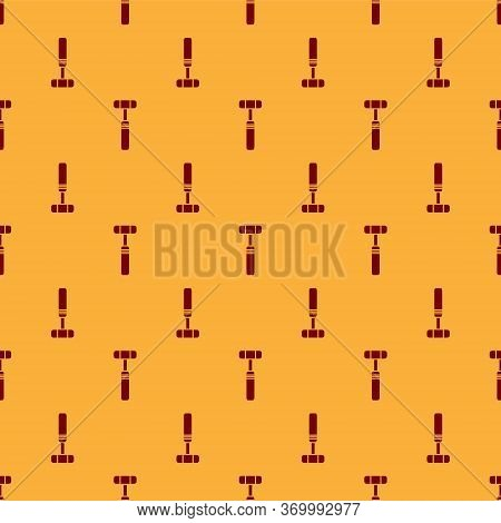 Red Neurology Reflex Hammer Icon Isolated Seamless Pattern On Brown Background. Vector Illustration