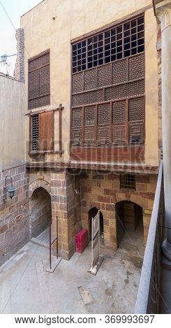 Facade Of Ottoman Era Historic Waseela Hanem House With Wooden Oriel Windows - Mashrabiya - Medieval