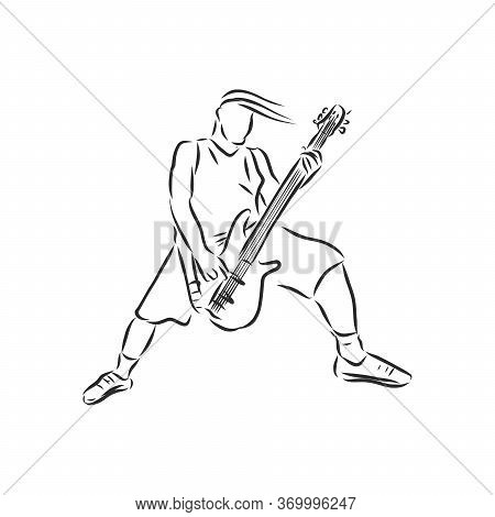 Rocker Guitarist Solo, Rock Guitarist, Vector Sketch Illustration