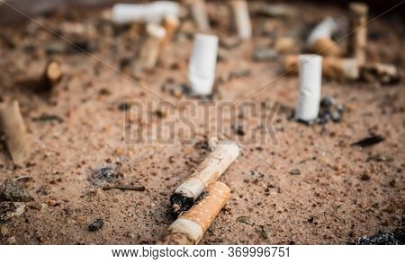 Cigarette Butts In Yellow Sand. Problem Of Humanity. Cigarette Smoking, Bad Habit. Nicotine Addictio