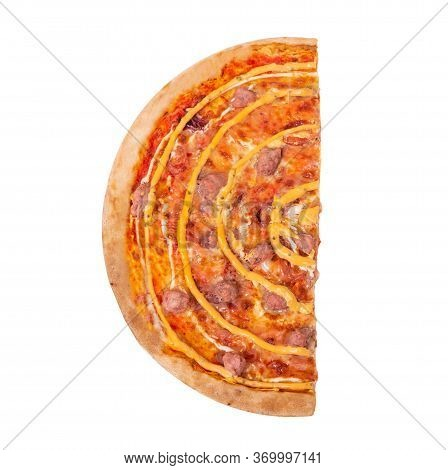 A Half Of Salsiccia Pizza Isolated On White Background With Clipping Path, Top View. Delicious Pizza