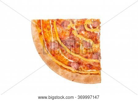A Quarter Of A Salsiccia Pizza With Beef Sausages, Mozzarella, Various Sauces And Marinated Red Onio
