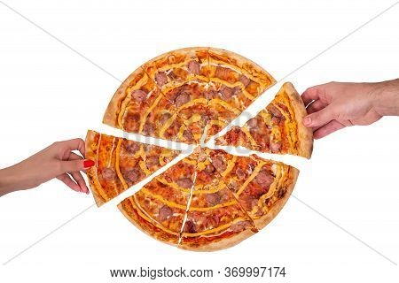 Hands Of A Man And A Woman Take Slices Of Salsiccia Pizza, Top View. Tasty Pizza With Beef Sausages,