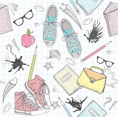 Cute school abstract pattern. Seamless pattern with shoes bags glasses stars books and ink stains. Fun pattern for teenagers or children. poster