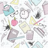 Cute school abstract pattern. Seamless pattern with alarm clock bags glasses stars books and ink stains. Fun pattern for teenagers or children. poster