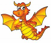 Cute red dragon on white background - color illustration. poster