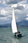 Sailing boat in the windy, cloudy summerday poster