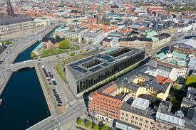 Copenhagen, Denmark - May 07, 2020: Aerial Drone View Of Denmarks National Bank