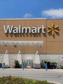 May 25, 2020 - Kennett Square, Pennsylvania. Walmart Storefront. A Walmart Sign And Logo Seen From T