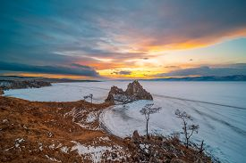 Landscape View Of The Mountain Shamanka Cape In Sunset Sky, Burkhan Island Olkhon At Baikal Lake, Ru