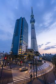 Tokyo, Japan - Mar 16, 2019: View Of Tokyo Skytree At Sunset. It Is A Broadcasting And Observation T