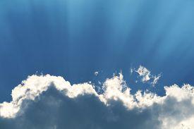 Sun Back On Blue Sky White Cloud And Sunlight Shiny