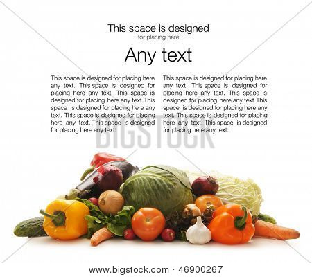 Pile of different fruits and vegetables isolated on white (there is some blank space to place any text)