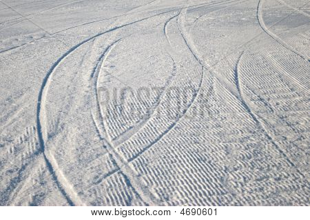 Curving Ski Track In Snow