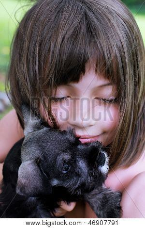 Little Girl And Her Mini Schnauzer