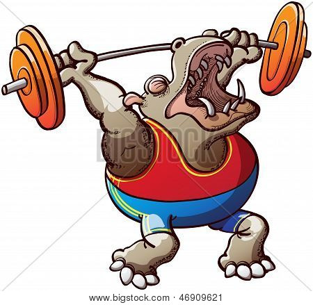Brave and courageous brown hippopotamus, wearing a blue tank and red shorts and making a big effort to lift the weight plates in a weightlifting competition poster