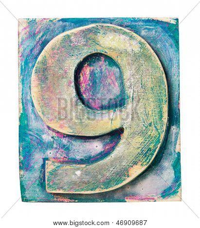 Wooden alphabet block, number 9