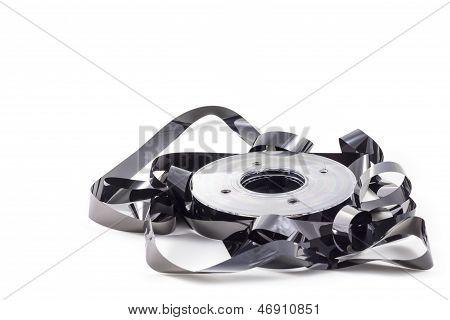 Destroyed black data tape