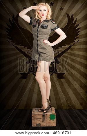 Attractive Blond Pin-up Army Girl. Military Salute