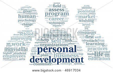 Conceito de desenvolvimento pessoal em nuvem de Tags de palavra em branco