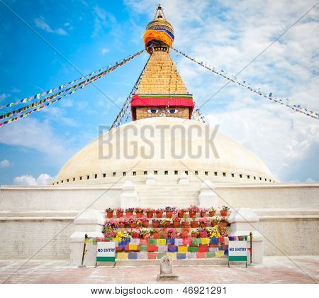 Boudhanath Stupa or Bodnath Stupa  is one of the most remarcable symbols of Buddism is the largest stupa in Nepal poster