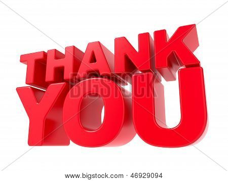 Thank You - Red 3D Text.