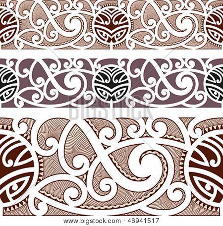 Maori styled seamless pattern. Editable vector illustration.