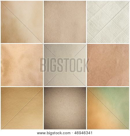 Old Vintage Beige Papers Texture Set Background