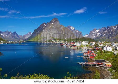 Picturesque fishing town of Reine by the fjord on Lofoten islands in Norway poster