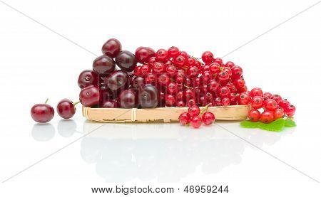 Ripe Cherry And Currant On A White Background