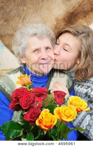 Granddaughter Kissed Grandmother