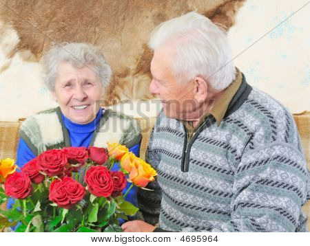 Old Woman With Roses
