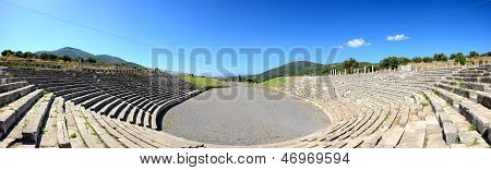 The Panorama Of Stadium With Mausoleum In Ancient Messene (messinia), Peloponnes, Greece