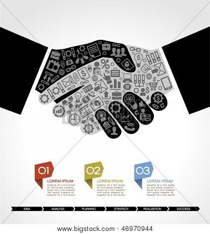 concept in modern business agreement. Businessman handshake with business small icons. Business info-graphics poster